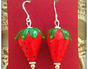 Juicy Red Strawberry Earrings