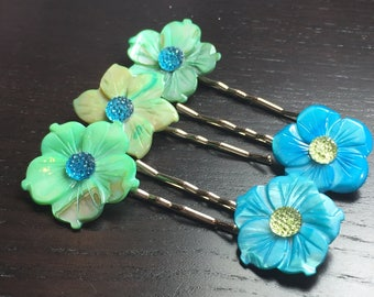 Island Surf Blue and Green Mother of Pearl Flower Bobby Pins -- set of 5 for Bridesmaids