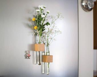 Magnetic vase - test tube vase - magnet vase - bud vase - wood vase - geometric wood - wooden kitchen gift - wood gift - housewarming gift