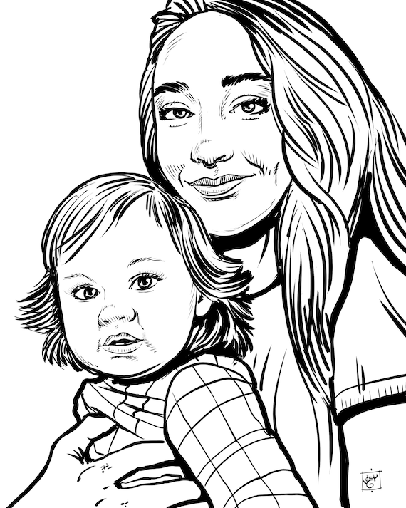 Custom Portrait Drawing from Photo, Digital Ink Sketch, Couples, Wedding Portrait, Pets, Family Portrait, Custom Coloring Book Pages
