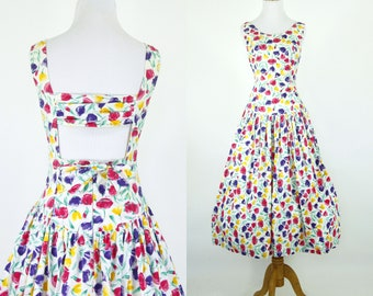 Vintage 1980s Dress   80s Does 50s Floral Print Open Back Sundress   Purple Pink Yellow   S M
