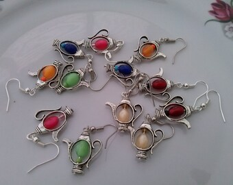 Crystal Teapot Earrings pick your color tea pot bead silver plated
