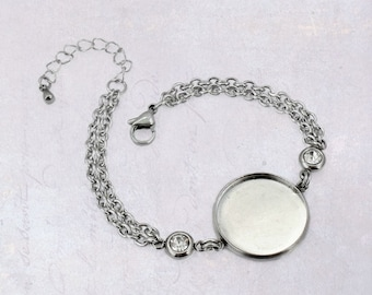 1 x Stainless Steel 20mm Cabochon Bracelet Blank Bezel Setting with Clear Rhinestones