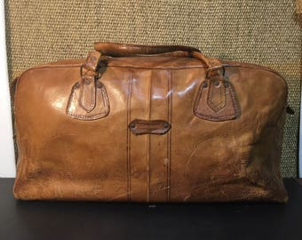 Vintage 1990's  Brown Leather Small Size Travel Bag / Overnight Bag