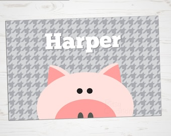 Children's Placemat - Pig Placemat - Personalized with Child's Name - Custom Placemat