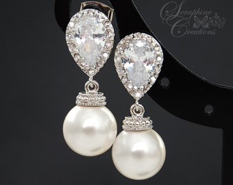 Bridal Pearl Earrings Wedding Jewelry Swarovski Pearls Cubic Zirconia Teardrop Bridesmaid Gift White Ivory/Cream Round Classic K034