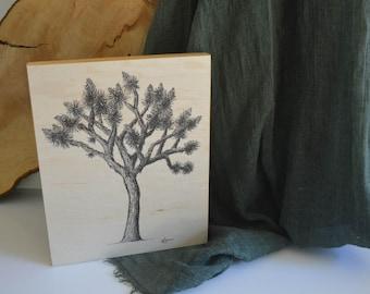 Joshua Tree Drawing on Wood Panel - Pen and Ink Fine Art Print on Wood - Handmade Wood Art - Nature Art - Sustainably Harvested Wood