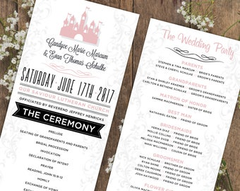 Fairytale Wedding Programs | Storybook Wedding | Blush & Black Custom Wedding Program Design | Wedding Ceremony | Bridal Party