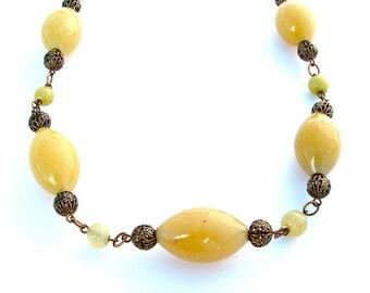 Antique Jewelry Filigree Glass Bead Chain Luxury Statement Necklace Lemon Honey Mustard Victorian Jewellery