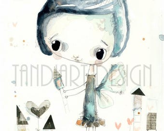 Ola- art print, for a girl, fairy illustration, home decor, kids room