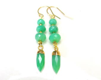 Faceted CHRYSOPRASE Earrings - Natural Gem Chrysoprase and 14k gold filled Handmade Jewelry