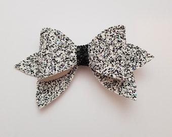 Black, White, Headband, Fabric, Bow, Glitter, Hair Accessories, Clips, Accessories, Hair, Ribbon, Bows.