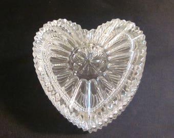 Vintage Covered Heart Shaped Crystal Trinket or Keepsake Box