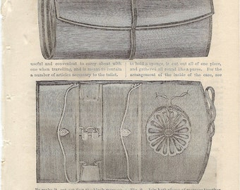 Antique Victorian Book Plate Etching from Godeys 1866 Ladys Book - Traveling Dressing Case to Frame or to use in Paper Arts PSS 2375