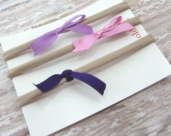 Purple Baby Headband Set, Infant Headband, Elastic Headband, Girl Headband, Toddler Headband, Ribbon Bow Headband,  Set of 3