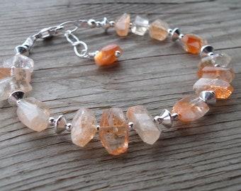 Natural AMAZING Sunstone Gemstone with Sterling Silver Bracelet