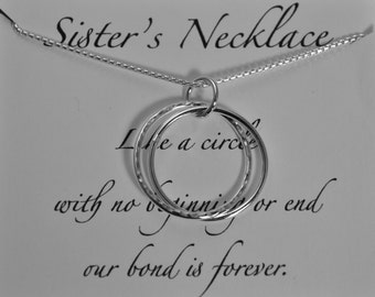 Sister Necklace, 2 sisters Necklace, 3 Sisters Necklace, Elements Gallery, Sterling Silver Sister Necklace, Sisters circle Necklace, sister