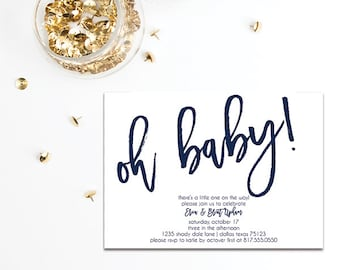 Oh Baby Shower Invitation | Co-Ed Party | Sip and See BA141