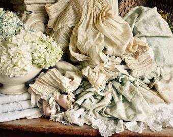Antique Shabby Chic Lovely Silk Gossamer Top And Skirt