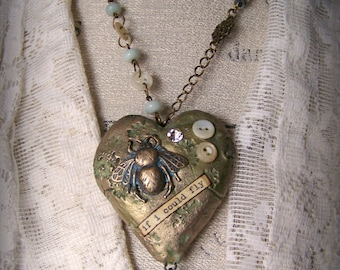 Handmade Mixed Media  Jewelry Altered Necklace Vintage Bee  Necklace  Vintage Mixed Media Vintage Gypsy  Heart Necklace Heart Pendant