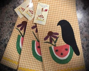 Primitive Crow and Watermelon Towel!!