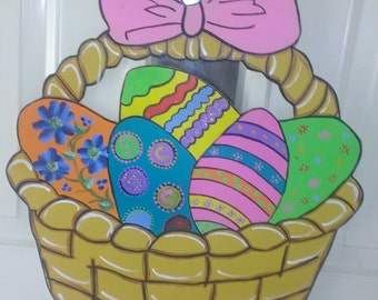 Wooden, handpainted Easter Basket door decor