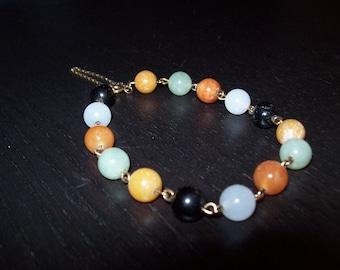 Multicolored Jade Bead Bracelet, Asian Bracelet, Green, Brown, Black Jade