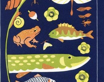 Fish Scandinavian Design Card - Fish Postcard - blank card - scandinavian design and pattern