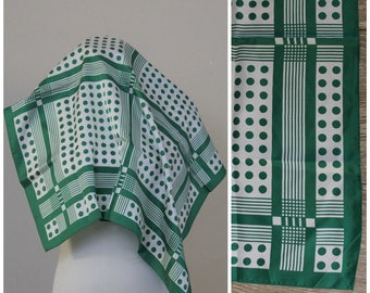 "Vintage 60's LARGE Green White Polka Dot Neck Head Scarf Wrap Japan 26"" x 26"" geometric mod"