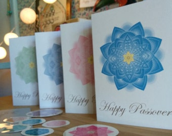 Happy Passover Folded Greeting Cards And Round Decorations for Envelopes-Jewish Art Project-Printables-INSTANT DOWNLOAD by @zebratoys