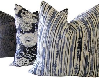 Blue Pillows - Blue Striped Pillow - Blue Throw Pillow - Blue Lumbar Pillow - Square Pillow - Blue Toss Pillow - PILLOW COVER ONLY