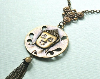 Buddha Necklace - Brass Medallion, Tassel Necklace, Long Necklace, Yoga Necklace