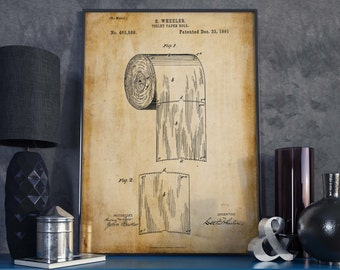 Toilet Paper Poster| Toilet Paper| Christmas Gift| Bathroom Wall Art| Restroom Decor| Powder Room Art| Toilet Art| Patent Art| HPH192