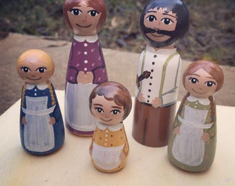 Ingalls Family Peg Dolls inspired by the Little House on the Prairie books