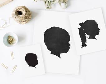 add-on silhouette portrait, duplicate print, custom portrait, family art, family keepsake, mothers day gift, grandparent gift