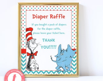 Dr. Suess | Cat in Hat Baby Shower Diaper Raffle Sign | Printable Digital File | Instant Download | Templett | BSI242DRS