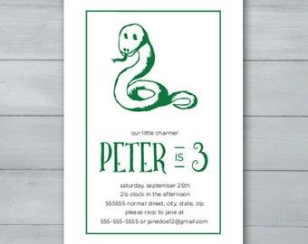 Snake Birthday Party Invitation  |  Snake Invite  |  Little Charmer Birthday Invitation  |  Snake Birthday Invitation