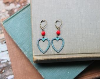 Verdigris Patina Heart Earrings