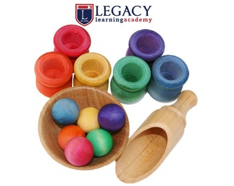 Montessori Toy, Ball and Pot Sorting Game, Waldorf Learning Games, Preschool Kids Activity