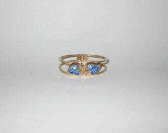 Vintage 1950s Gold-Tone Rhinestone Clamper Bracelet / 50s Blue Rhinestone Clamper Bracelet With Heart-Shaped Leaf Design