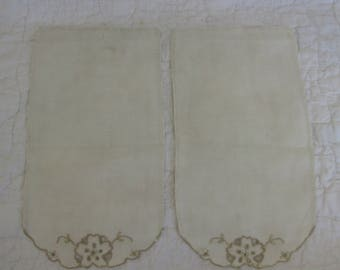 2 Vintage Arm Rest Covers Cut work Doilies not perfect