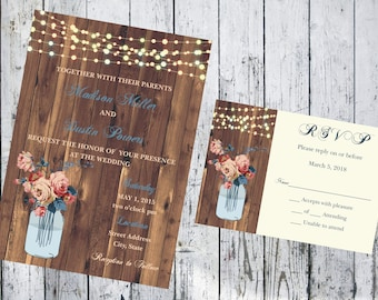 Woodgrain with Blue and Ivory Floral Mason Jar and String Lights Wedding Invitation