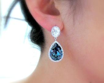 clip ons wedding jewelry bridal bridesmaid gift prom party christmas teardrop cubic zirconia swarovski denim navy blue crystal oval earrings
