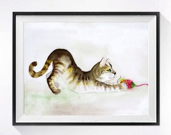 Kitty Art Original, Original watercolor painting Framed brown tabby cat wall hanging Kitty wall art Cat artwork Gift for her 8.5x14 Sale
