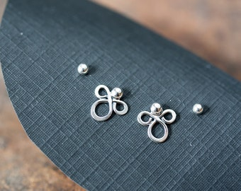 Double piercing earring set, Abstract sterling silver earrings, Tiny silver studs, Simple everyday earrings, Two pairs