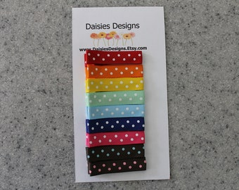 Pretty Polka Dot Barrette's Classic Colors-Girl's Hair Barrettes-Infant Baby Toddler Hair Clips-Alligator Clips
