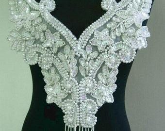 BD20 Fringed Floral Bodice Sequined Beaded Applique White Iris Sewing on Dancewear/Samba Wear/Tutu