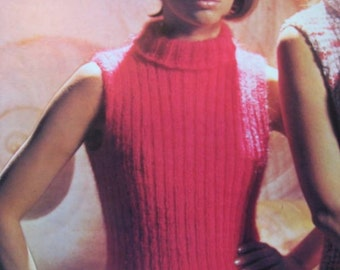 1960's Vintage Knitting Pattern PDF Women's Sleeveless Turtlenck Sweater 762-4