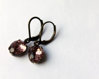 Estate Style Earrings, Light Smokey Amethyst  Ovals, Dainty, Vintage Jewel Earrings