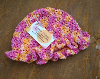 Baby Girls Astro Dyed Cotton Chenille Hat with Ruffle - Pink Lemonade 331